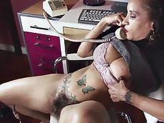 Brunette milf with huge ttis and hairy honey pot maturbating in office