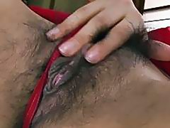 Lady Airi in her kimono rubbing and masturbating